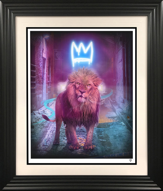 """JJ Adams King of The (Urban) Jungle - Blue, 2021 X3 Colour Variations of """"Neon Crown"""" Signed Limited Edition Print Black Or White Frame Framed: 41.5"""" x 35.5"""" Edition of 25 plus 10 artist's proofs"""