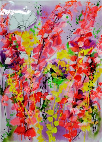 Jean Picton Burst of Pink, 2018 Original Resined Acrylic on Canvas Framed Size 43 1/4 x 33 1/2 in Framed Size 110 x 85 cm