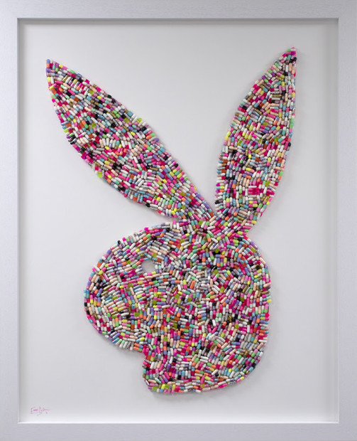 Emma Gibbons Bad Bunny - Large, 2021 Original Artworks - Various Pill / Capsule colour options available to order across two size options, Large & Small. (Also available with options for background colours) Framed Size: 42 x 34 in Framed Size: 106.7 x 86.4 cm