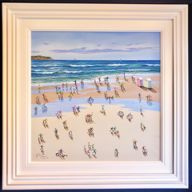 "Paola Cassais Beach Goings On , 2020 Original Mixed Media on Canvas Framed Size: 41"" x 41"" Framed Size: 104 x 104cm"