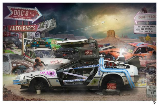 JJ Adams Doc's Auto Parts (Final Part of the DeLorean Series) , 2021 Signed Limited Edition Print Black Or White Frame Framed Size : 32 x 42 in Framed Size : 81.3 x 106.7 cm Edition of 145