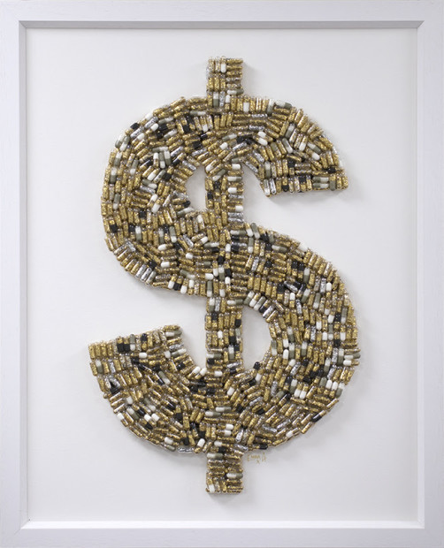 Emma Gibbons, Dollar High - Small Gold on White, 2021