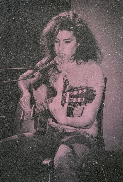 David Studwell Amy Winehouse IV, 2019 Hand-Pulled Silk Screen With Diamond Dust Framed Size: 41 3/8 x 30 1/4 in Framed Size: 105 x 77 cm Edition of 20