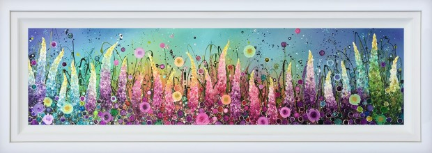 "Leanne Christie Panoramic Rainbow, 2019 Original Mixed Media Framed Size: 69"" x 24.5"" Framed Size: 174 x 62.2 cm"