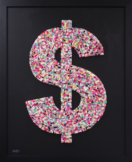 Emma Gibbons Dollar High - Large - Multi-Coloured on Black Background, 2021 Original Artworks - Various Pill / Capsule colour options available to order across two size options, Large & Small. (Also available with options for background colours) Framed Size: 42 x 34 in Framed Size: 106.7 x 86.4 cm