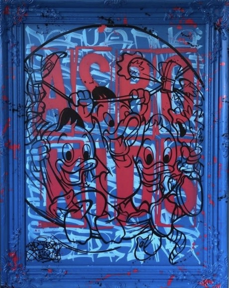 """Opake One Asbo Kids, 2020 Original Mixed Media With Spot Resin Finish In Hand Finished Frame Framed Size: 29"""" x 37"""" Framed Size: 74 x 94 cm"""