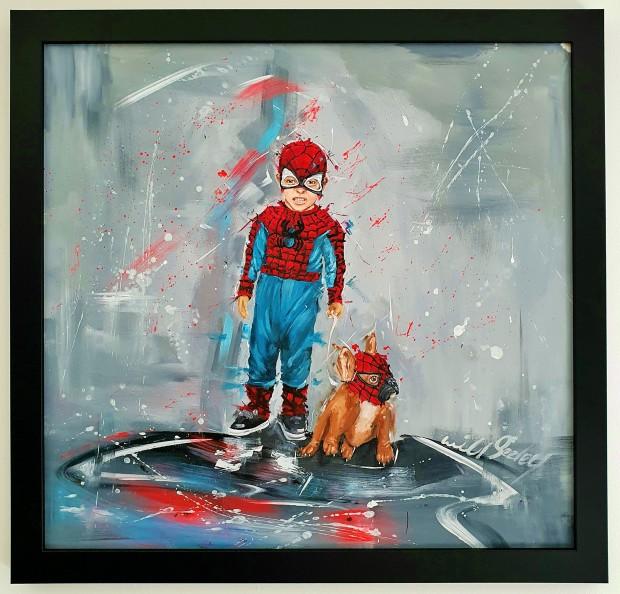 "Wild Seeley Spider Boy Original Canvas on Board Framed Size: 29"" x 27"" Framed Size: 74 x 69cm"