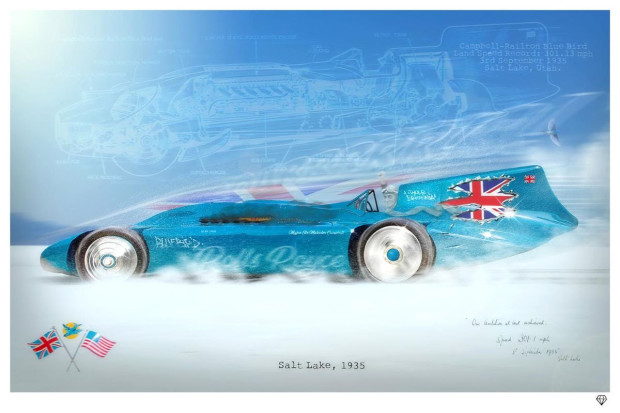 """JJ Adams Bluebird - Land Speed Record, 2019 Signed Limited Edition Framed Size: 42"""" x 32"""" Limited Edition of 95"""