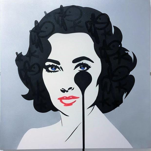 Pure Evil Richard Burton's Nightmare - Metal Liz Original Stencil spray paint on canvas with KRINK Image Size 29 7/8 x 29 7/8 x 3/4 in Image Size 76 x 76 x 2 cm