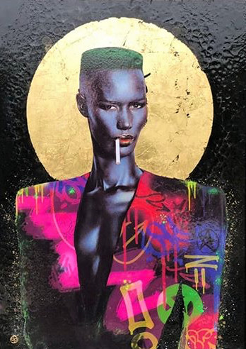 Dan Pearce Grace Jones, 2019 Original. Mixed media, gold leaf, spray paint. Double mounted frame with gold foil finish. Series: Icons