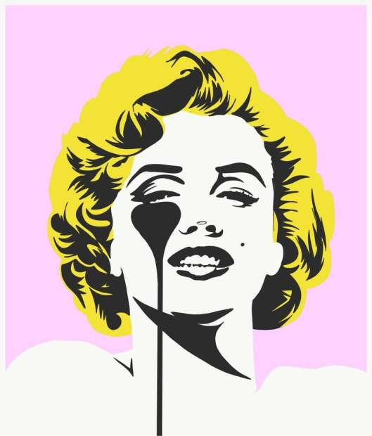 """Pure Evil I Dream of Marilyn - Golden Yellow Hair 3 colour screenprint Limited Edition of 100 Framed Image Size: 27.5"""" x 33.5 Framed Size: 31.5"""" x 37.5"""""""
