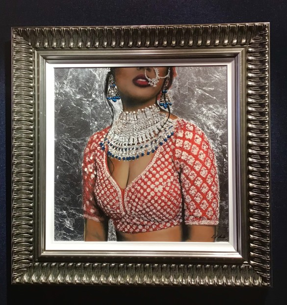 Linda Charles Indian Couture II, 2019 An Original Mixed Media Collage on Panel. Textured with silver leaf. Ornate frame with slip. Framed Size: 34 1/4 x 34 1/4 in Framed Size: 87 x 87 cm