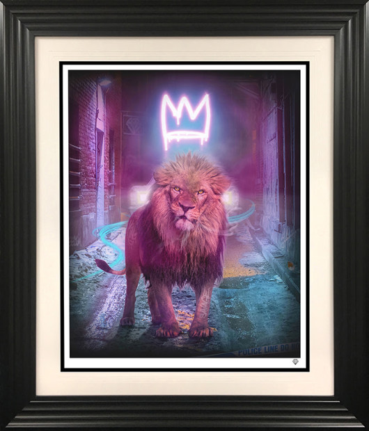 """JJ Adams King of The (Urban) Jungle - Pink, 2021 X3 Colour Variations of """"Neon Crown"""" Signed Limited Edition Print Black Or White Frame Framed: 41.5"""" x 35.5"""" Edition of 25 plus 10 artist's proofs"""