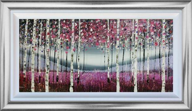 "Nigel Cooke Morning Mist Mixed Media Landscape on Aluminium Treated Panels Framed Size: 50"" x 30"" Framed Size: 77 x 130 cm"