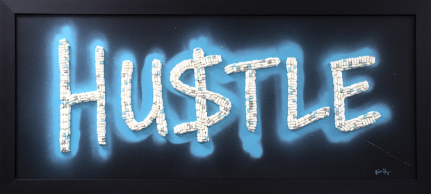 Emma Gibbons Neon Hustle, 2021 Original Artworks - Various colour options available to order. Also available with bespoke graffiti colour background colour. Framed Size: 22 1/2 x 50 in Framed Size: 57.1 x 127 cm
