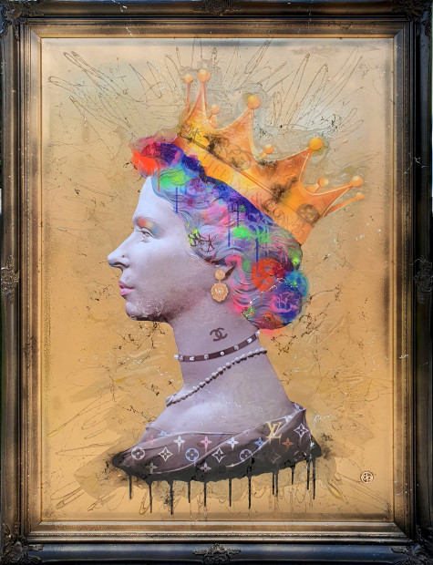 Dan Pearce Queen of Fashion II, 2019 Original Mixed Media Framed Size 35 3/8 x 47 1/4 in Framed Size 90 x 120 cm