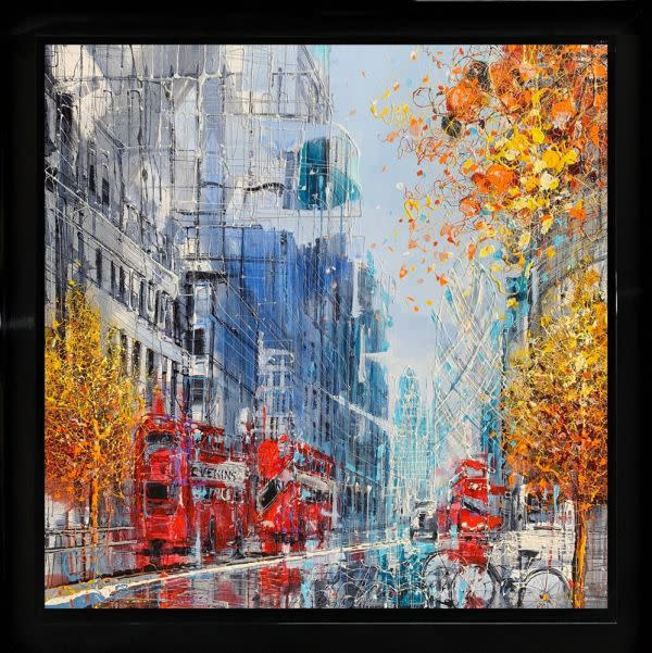 Nigel Cooke Routemaster To Bank, 2019 Mixed Media On Canvas Framed Size 33 1/2 x 33 1/2 in Framed Size 85 x 85 cm
