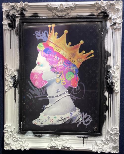 "Dan Pearce Covid Queen , 2021 Lenticular Framed Size: 29"" x 38"" Framed Size: 74 x 97cm"