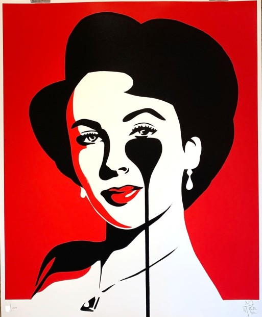 """Pure Evil Liz Loves Rich - Red Limited Edition Screenprint of 100 Framed Image Size: 27.5"""" x 33.5"""" Framed Size: 31.5"""" x 37.5"""""""
