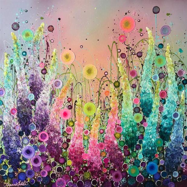 "Leanne Christie  Lustreclust & Rainbows, 2018  Original Mixed Media on Canvas  Framed Size: 39"" x 39""  Framed Size: 99 x 99 cm"
