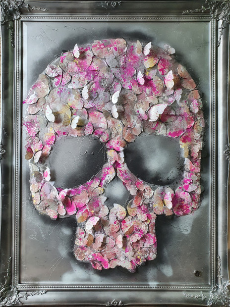 """Dan Pearce After Life , 2020 Original Spray Paint, Ink & Resin with butterflies Framed Size: 35"""" x 47"""" Framed Size: 90 x 120cm"""