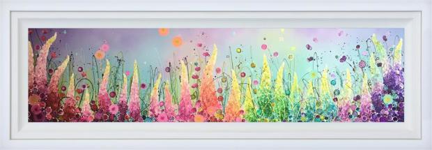 "Leanne Christie Treasure Of Petals, 2019 Original Mixed Media Framed Size: 69"" x 24.5"" Framed Size: 174 x 62.2 cm"