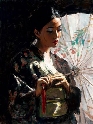 Fabian Perez, Michiko With The White Umbrella, 2017
