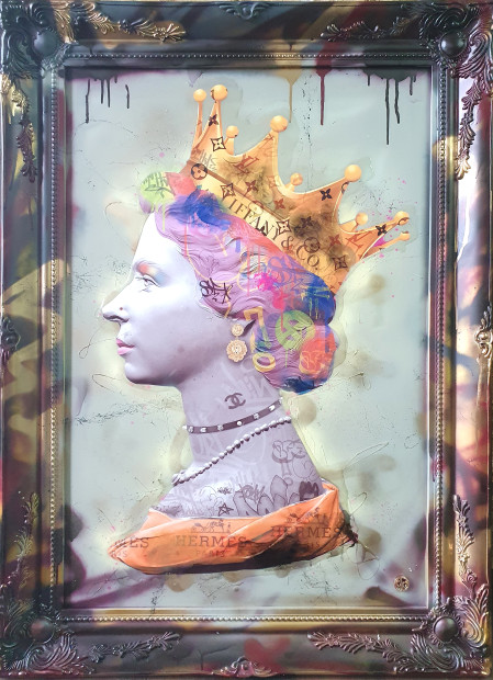 Dan Pearce Queen of Fashion HRH, 2020 Original Spray Paint, Ink & Resin Hand Finished Frame Framed Size: 31 x 41in Framed Size 80 x 104 cm