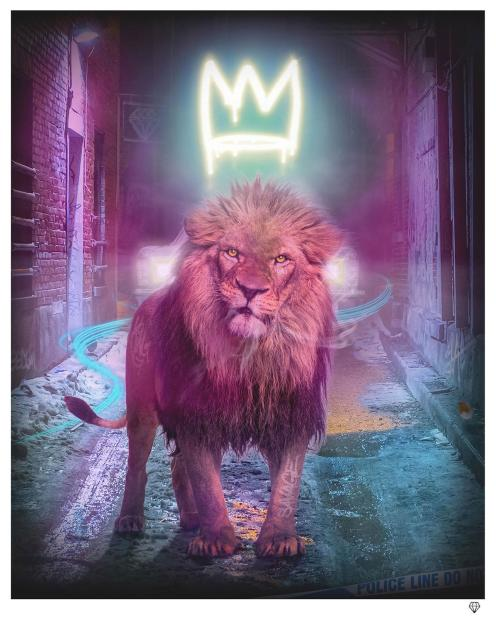 """JJ Adams King of The (Urban) Jungle - Yellow, 2021 Colour Variations of """"Neon Crown"""" Available. Signed Limited Edition Print Black Or White Frame Framed: 41.5"""" x 35.5"""" Edition of 25 plus 10 artist's proofs"""