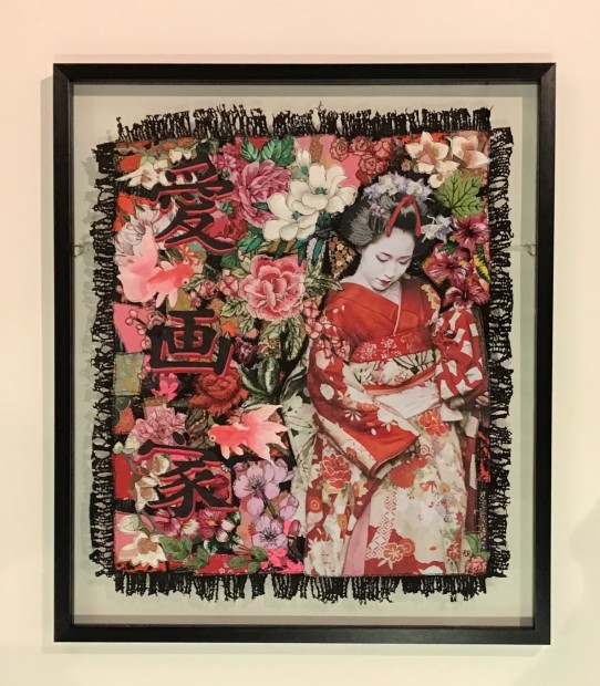 Roberta Roman Geisha Girl - Original, 2019 Textiles With Mixed Media Framed Size 28 3/4 x 24 3/4 in Framed Size 73 x 63 cm
