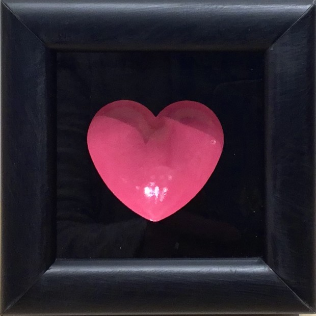 """RYCA - Ryan Callanan Mini Heart - Cerise Open Edition Poptorian Artwork signed Some areas of the frame are slightly distressed which complements the crisp clean heart. Framed Size: 5"""" x5"""" x 2"""" Framed Size: 15cm x 15cm x5"""