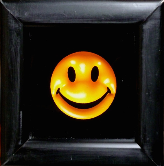 """RYCA - Ryan Callanan MINI SMILEY GLOSS YELLOW, 2014 Glass and moulded materials Signed Open Edition Poptorian Artwork Framed Size: 4.7"""" x 4.7 """" Framed Size: 11.9 x 11.9 cm"""