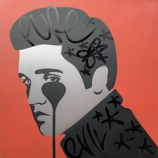 Pure Evil Elvis On Metal - Love Me Tinder Original Stencil spray paint 1 mm Steel Image Size: 29 7/8 x 29 7/8 in Image Size: 76 x 76 cm