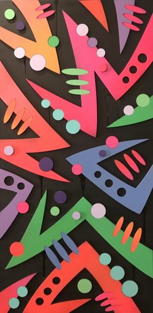 Arthur Rambo Bolt - Pink, 2021 Mixed Media On Box Canvas 39 3/8 x 19 3/4 in 100 x 50 cm
