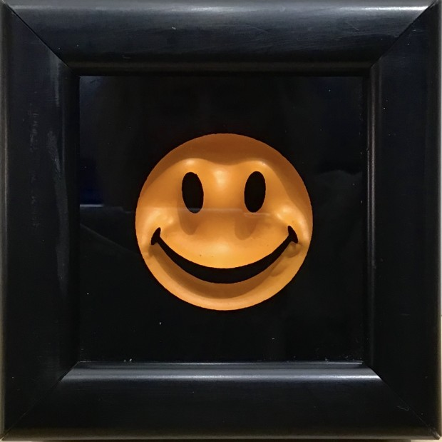 """RYCA - Ryan Callanan Mini Smiley Yoke Yellow Open Edition Poptorian Artwork signed This piece contains a small classic smiley. Some areas of the frame are slightly distressed which complements the crisp clean Smiley. Framed Size: 5"""" x5"""" x 2"""" Framed Size: 15cm x 15cm x5"""