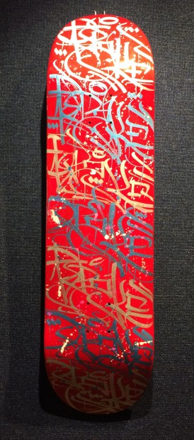 Opake One, Skate Board Red & Gold, 2019