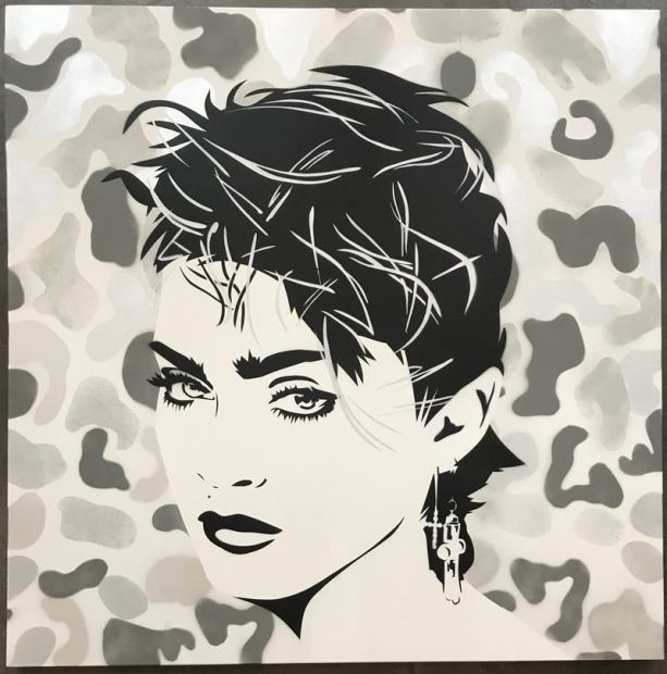 Pure Evil Camo Madonna, 2020 Original Stencil spray paint on canvas Image Size: 39 3/8 x 39 3/8 in Image Size: 100 x 100 cm