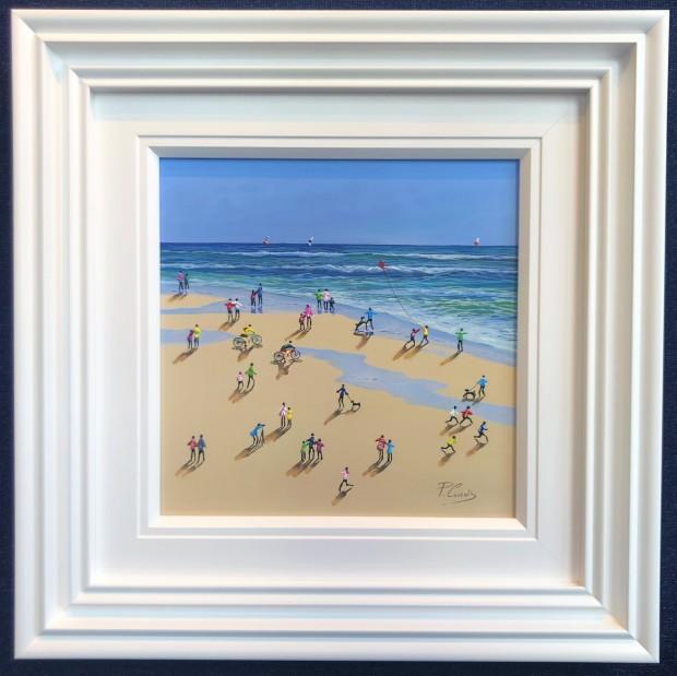 "Paola Cassais Beach Events , 2020 Original Mixed Media on Canvas Framed Size: 27"" x 27"" Framed Size: 69 x 69cm"