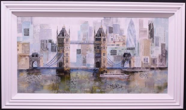 "Veronika Benoni London Tower Bridge , 2020 Original Acrylic Mixed Media on Canvas with Silver Leafing Framed Size: 55"" x 33"" Framed Size: 140 x 84 cm"