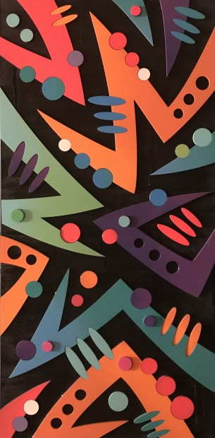 Arthur Rambo Bolt - Orange, 2021 Mixed Media On Box Canvas 39 3/8 x 19 3/4 in 100 x 50 cm