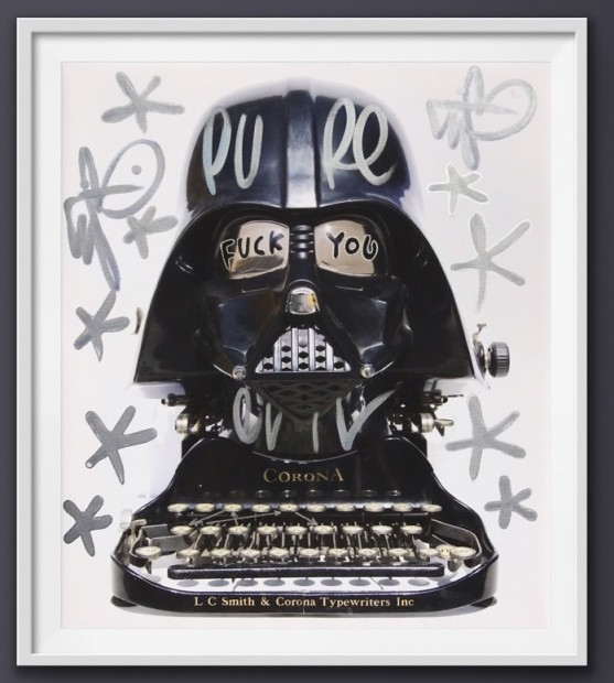 Pure Evil F**K You Corona - Canvas- Tagged Darth Typewriter, 2020 Framed Unique Edition Giclee print on high quality matte canvas with over painting and Krink and acrylic pen hand finishing. A signed series of 10 uniquely hand finished artworks Image Size: 25 5/8 x 21 5/8 in Image Size: 65 x 55 cm Unique Edition