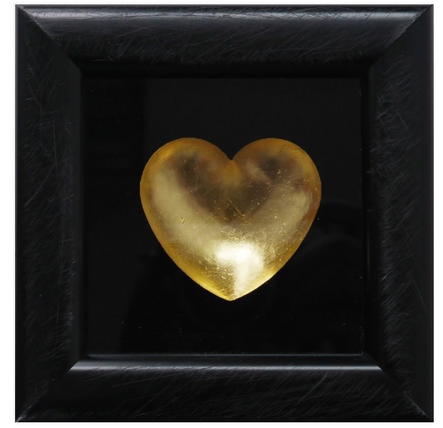 """RYCA - Ryan Callanan Mini Heart - Gold 'Mini Heart - Gold' is a resin relief and silkscreen on glass, hand finished with gold leaf, by acclaimed artist Ryan Callanan (aka RYCA). The piece is signed by the artist. Open Edition Poptorian Artwork Framed Size: 4.7"""" x 4.7 """" Framed Size: 11.9 x 11.9 cm"""