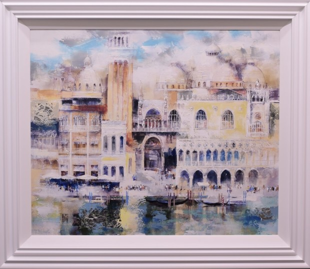 Veronika Benoni Venice Shimmer, 2019 Mixed Media on Canvas with Silver Leaf Framed Size: 38 x 44 1/8 in Framed Size: 96.5 x 112 cm