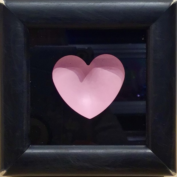 """RYCA - Ryan Callanan Mini Heart - Pink Open Edition Poptorian Artwork signed Some areas of the frame are slightly distressed which complements the crisp clean heart. Framed Size: 5"""" x5"""" x 2"""" Framed Size: 15cm x 15cm x5"""