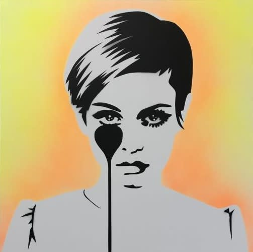 Pure Evil Twiggy - Car Paint, 2020 Original Stencil spray paint on canvas Image Size: 39 3/8 x 39 3/8 in Image Size: 100 x 100 cm