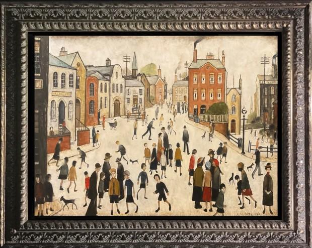 """Peter Osborne L S Lowry - A Village Square 1943, 2021 Framed Original on Canvas Framed Size: 26"""" x 23"""" Framed Size: 66 x 59cm"""