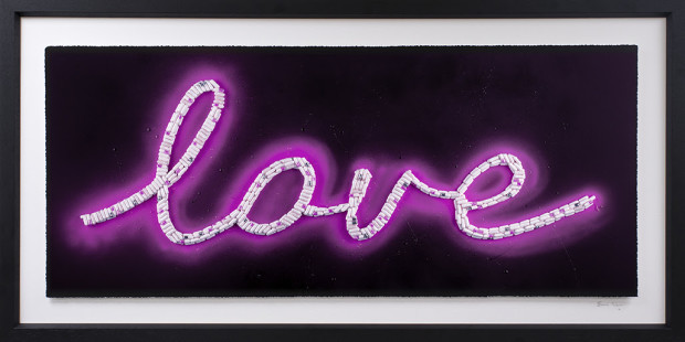 Emma Gibbons Neon Love - Purple, 2021 Signed, Numbered & Certified limited-Editions. Deckled & floated fine Art Museum Paper prints. Available across THREE separate colourway options, Pink, Blue & Purple Framed Size: 23 1/2 x 46 1/2 in Framed Size: 59.7 x 118.1 cm Edition of 25