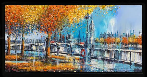 Nigel Cooke Westminster Blues, 2019 Mixed Media On Canvas Framed Size 33 1/2 x 63 3/8 in Framed Size 85 x 161 cm