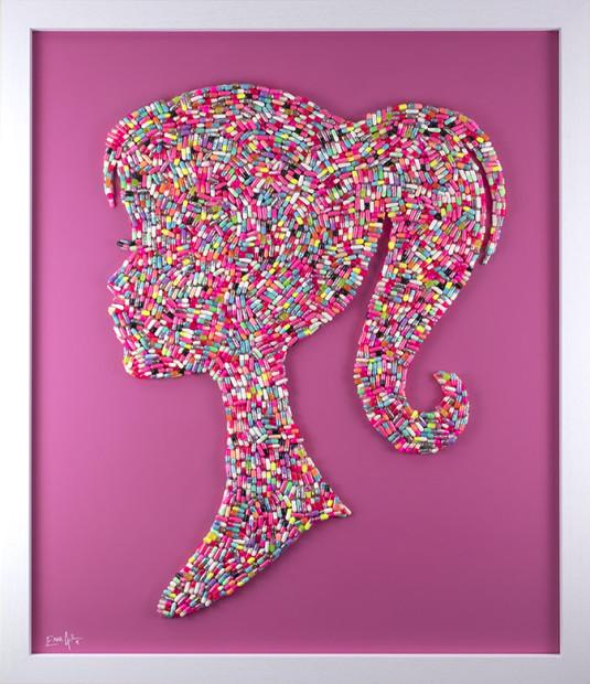 Emma Gibbons Bad Barbie, 2021 Original Multi-Coloured on Pink Background Framed Size: 42 x 34 in Framed Size: 106.7 x 86.4 cm