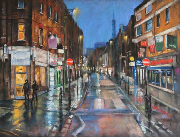 Marc Gooderham, Rainy Night, Brick Lane , 2021